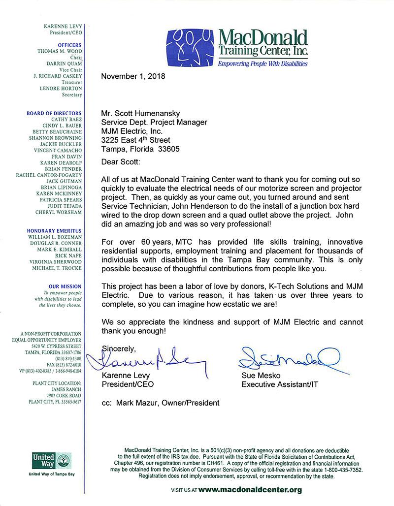 MacDonald Training Center letter