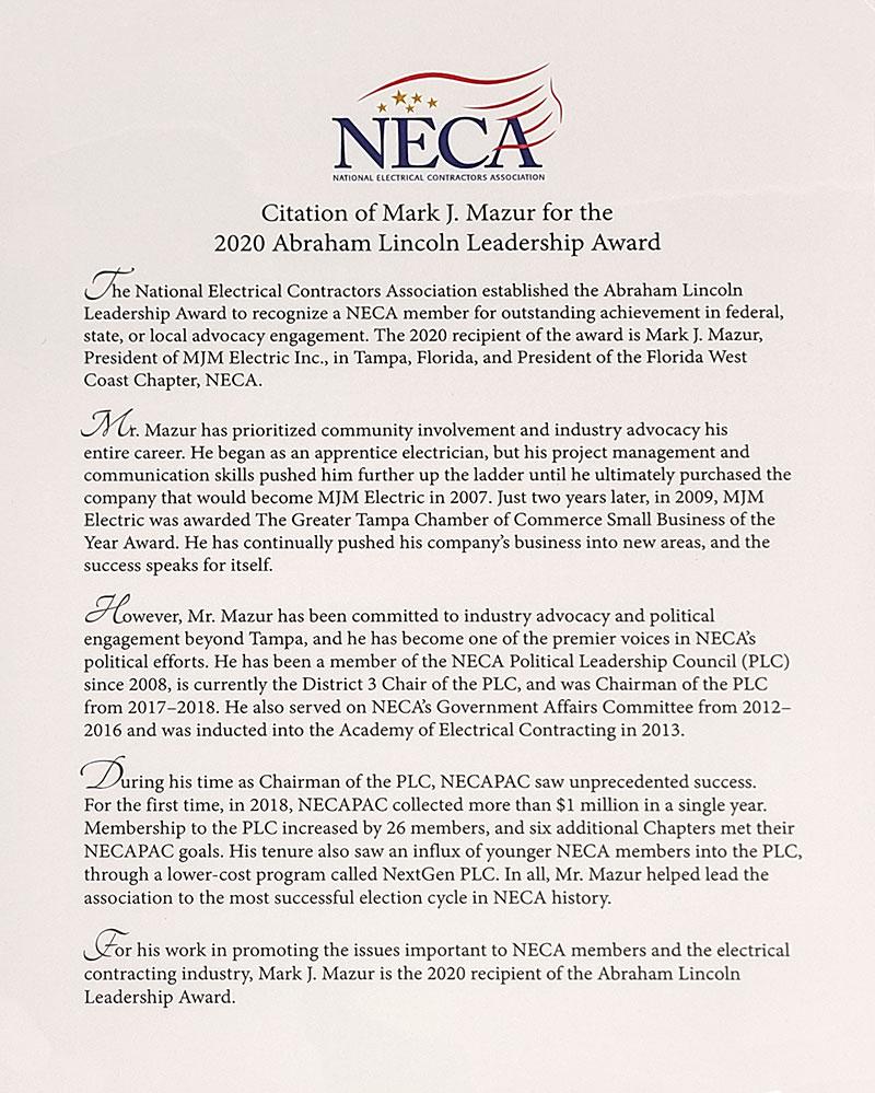 Lincoln Award letter 2020